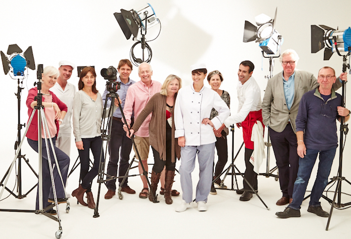 Ragus Marketing Director Ben Eastick with photographers, stylists, models and brand consultants on a studio set.
