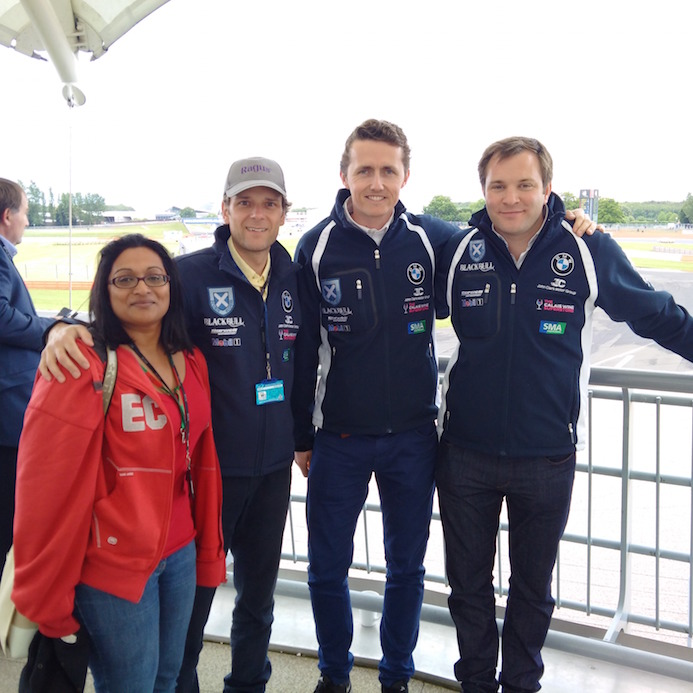 Theresa & Ben with Blancpain drivers Oliver Bryant & Alasdair McCaig view the action from the BRDC