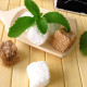 Sugar cubes and stevia with nameplate