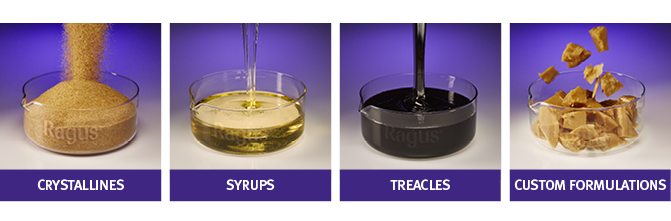 Examples of sugar from each category; crystallines: demerara sugar, syrups: invert sugar syrup, treacles: black treacle, and custom formulations: brewing sugar.