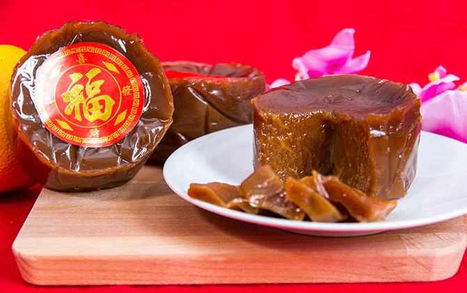 Chinese New Year Cake , Kue Keranjang in Indonesia with Chinese Decoration