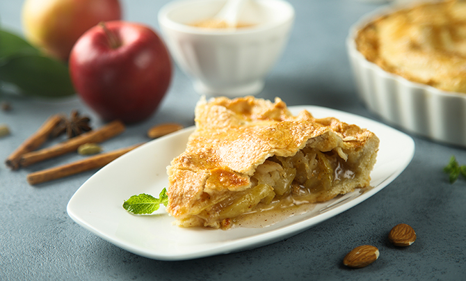 Homemade apple pie with spices