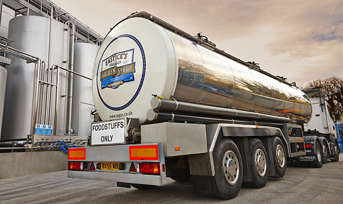 Ragus bulk syrup silver tanker on lorry