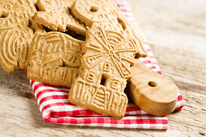 Traditional speculaas cookies in windmill shape