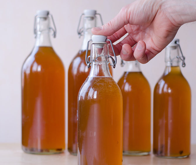 Close up of several large Sima bottles, the unique Finnish tradition, fermented made from water, lemons and soft brown light sugar