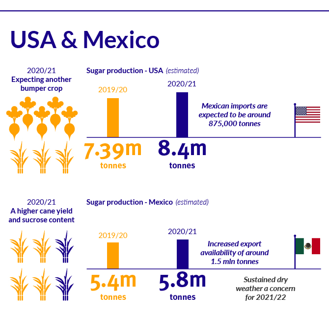 USA and Mexico sugar market position 2021/22 infographic