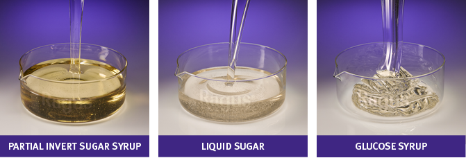 Best sugars for cider making pictured here: partial invert, liquid sugar and glucose syrup