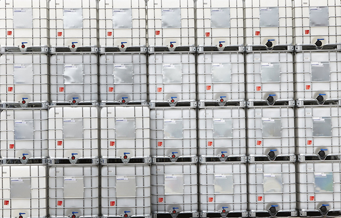 Stacked intermediate bulk containers (IBCs).