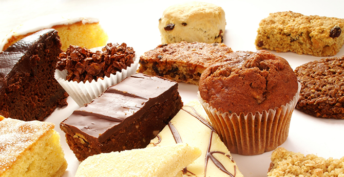 Cake selection on white plate.